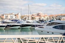 Marina With Luxurious Yachts A...