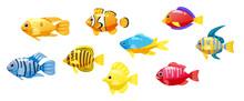Set Cartoon Funny Fish Vector ...