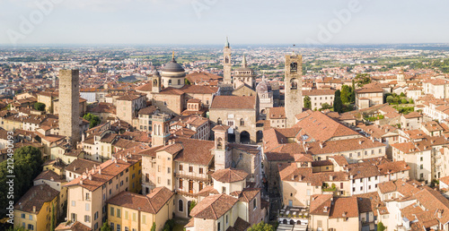 Papiers peints Paris Drone aerial view of Bergamo - Old city. One of the beautiful town in Italy. Landscape to the city center and its historical buildings