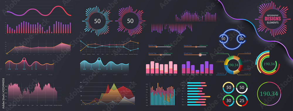 Fototapety, obrazy: Infographic dashboard template with flat design graphs and pie charts. Information Graphics elements for UI UX design. Web elements in moden style.