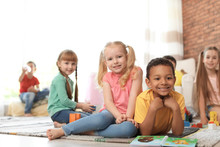 Cute Little Children With Book...