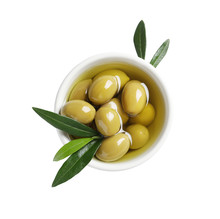 Bowl With Fresh Olives In Oil On White Background, Top View
