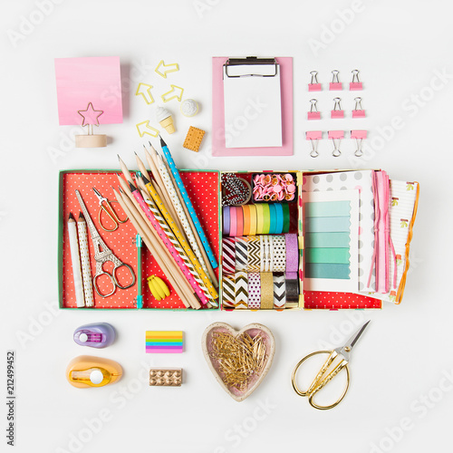 Organizer With Stylish Stationery. Flat Lay, Top View Trendy Back To School  Concept.