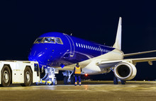 Blue Modern Aircraft Towed At ...