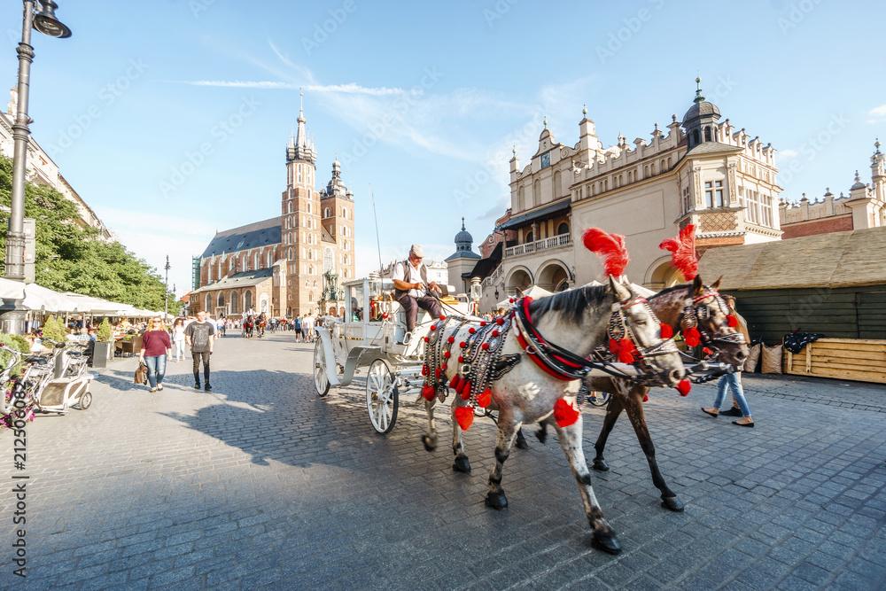 Fototapety, obrazy: Rynek w sercu Krakowa starego miasta, Polska