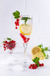 Cold Fruit Infused Detox Water with lemon, berries, mint and ice. Summer refreshing drink