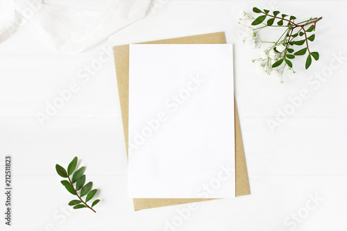Valokuva  Feminine wedding stationery, desktop mock-up scene