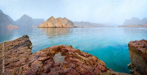 Foto auf AluDibond Cappuccino Sea tropical landscape with mountains and fjords, Oman