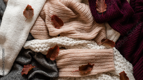 Background with warm sweaters Canvas Print