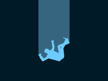 Falling Man. Male Blue Silhouette On Black Background. Retro Style, Noir. Vector Illustration