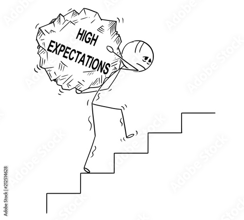 Fotografie, Obraz  Cartoon stick drawing conceptual illustration of man or businessman carrying big piece of rock with text high expectations upstairs