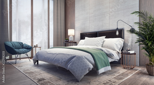 Fotografia  Modern design of bedroom interior 3D Rendering