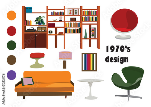 1970s 70s Interior Design Vector Elements Retro Vintage Furniture Ilration Living Room Mood