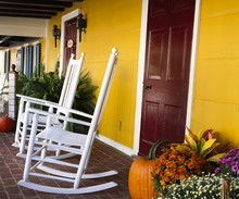 Autumn Front Porch With Rocking Chairs In Virginia-Square Size