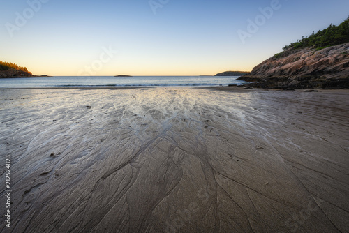 Valokuva  Striation in the wet sand at Acadia National Park