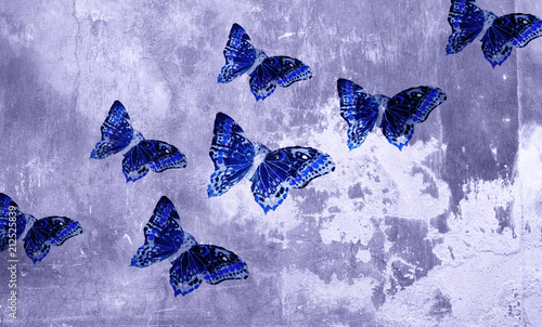 Fotobehang Vlinders in Grunge Digital background art graphic butterflies and a wall