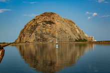 Morro Bay Rock With Sailboat