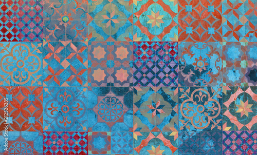 Slika na platnu Digital background art of mediterranean and Aegean tiles.