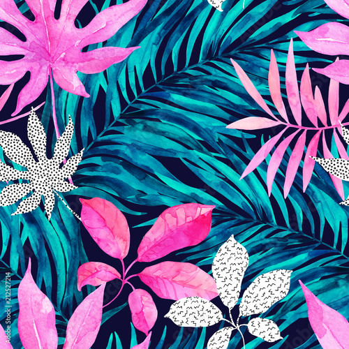Poster de jardin Aquarelle la Nature Drawing of unusual leaves, leaf silhouettes with doodle elements background.