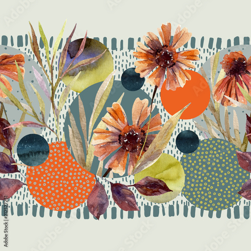 Staande foto Grafische Prints Watercolor flowers and leaves, circle shapes on minimal doodle textures background.
