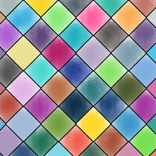 Multicolored Watercolor Paint Background With Diamond Shaped.  Wallpaper And Texture