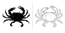 Crab Silhouette Sea Animal. Ve...