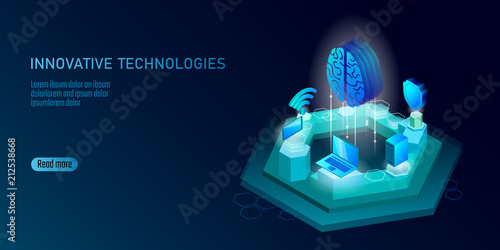 Obraz Isometric artificial intelligence business concept. Blue glowing isometric personal information data connection pc smartphone human brain future technology. 3D infographic vector illustration - fototapety do salonu