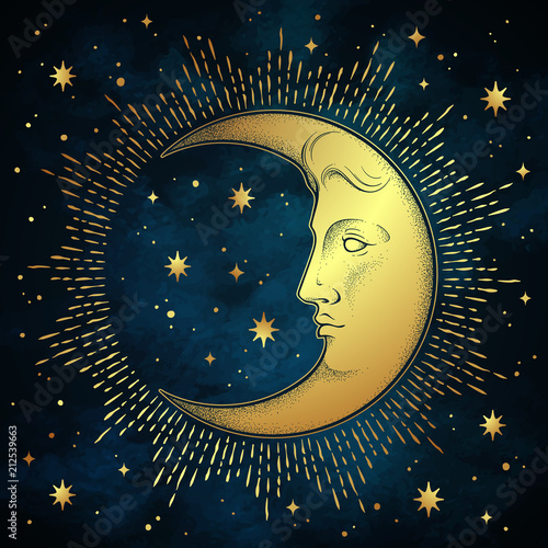 Crescent moon and stars in antique style hand drawn line art and dotwork Wallpaper Mural