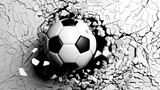 Fototapeta Perspektywa 3d - Soccer ball breaking forcibly through a white wall. 3d illustration.