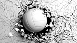 Volleyball ball breaking forcibly through a white wall. 3d illustration.