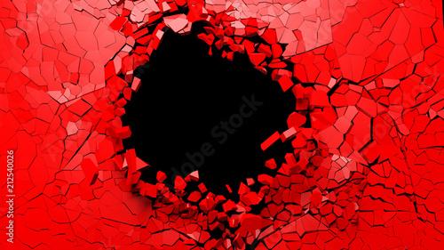 Pinturas sobre lienzo  Hole on a broken red wall blank space. 3d illustration.