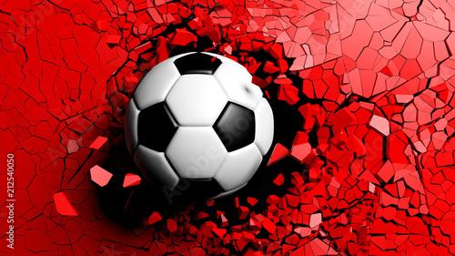 Piłka złamana siłą przez czerwoną ścianę. 3d ilustracja.