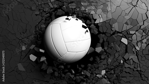Fotomural  Volleyball ball breaking forcibly through a black wall