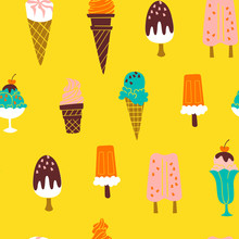 Cute Pattern With Hand Drawn Ice Cream. Vector Background Illustration.