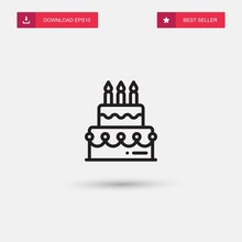 Outline Birthday Cake Icon Iso...
