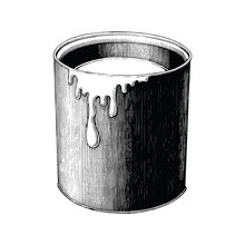 Vintage Paint Can Hand Drawing Clip Art Isolated On White Background