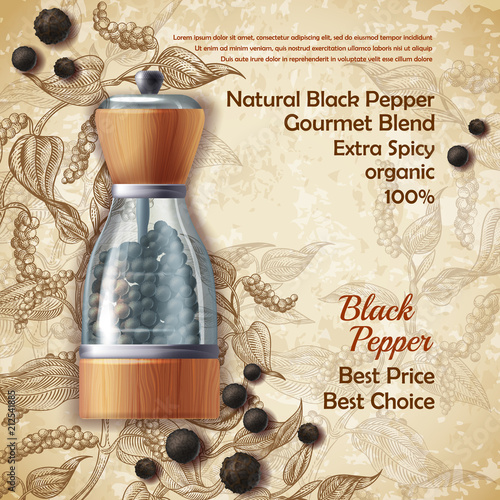 Photo  Vector banner with pepper mill, filled with black peppercorns on textured background