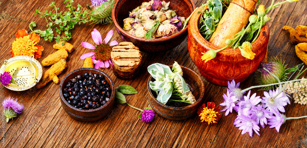 Fototapety, obrazy: Healing herbs with mortar
