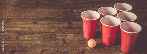 Fotografie, Obraz  College party sport - beer pong table setting