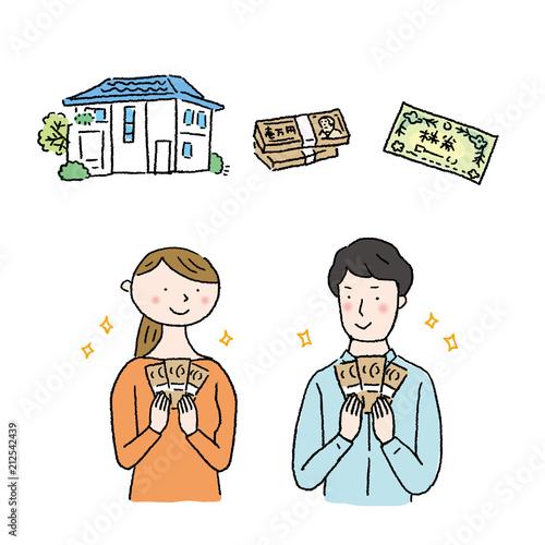 お金を持つ 男女 イラスト Canvas Print