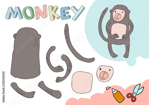 Funny Monkey Paper Model Small Home Craft Project DIY Game Cut Out