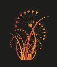 Isolated Stylized Umbel Plant In Fire Shades On Dark Background