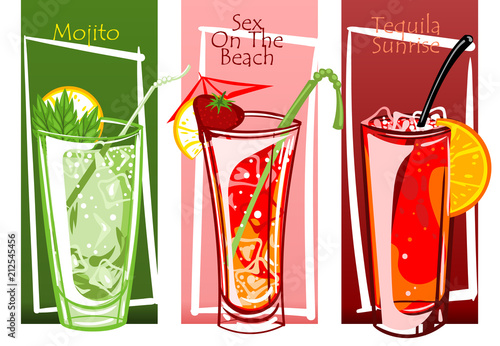 Coctails set, free hand vector illustration drawn. Poster