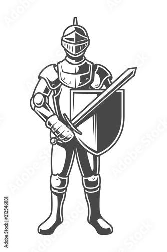Obraz na plátně Vintage monochrome brave knight