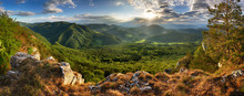 Green Mountains Landscape With Sun