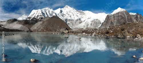 Door stickers Reflection view of Cho Oyu mirroring in lake