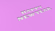 canvas print picture - White Happy New Year words cut in purple paper
