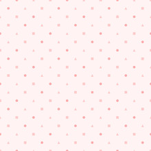 Backgrounds Pattern Seamless Geometric Sweet Pink Dot Square And Triangle Abstract Vector Design. Pastel Color Background.