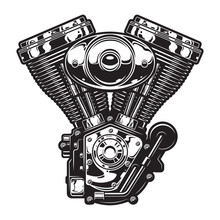 Vintage Motorcycle Engine Template
