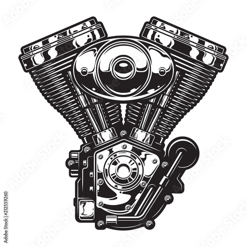 Vintage motorcycle engine template Fototapeta